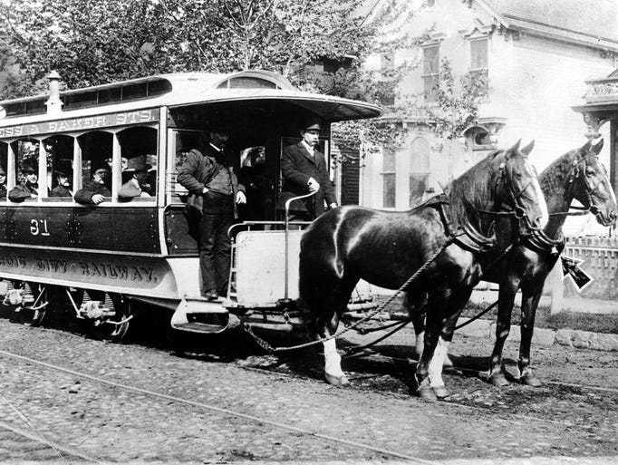 The Detroit City Railway, using horses to pull streetcars