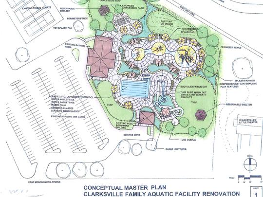 Conceptual master plan of the Clarksville Family Aquatic Center's renovation.