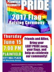 Plainfield will host an LGBT flag day ceremony on Thursday