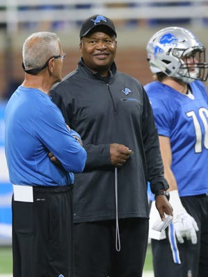 Detroit Lions special teams coach Joe Marciano talks with head coach Jim Caldwell during practice Saturday, August 6, 2016 at Ford Field in Detroit.