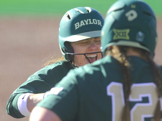 Baylor's Carlee Wallace is all smiles as her teammates