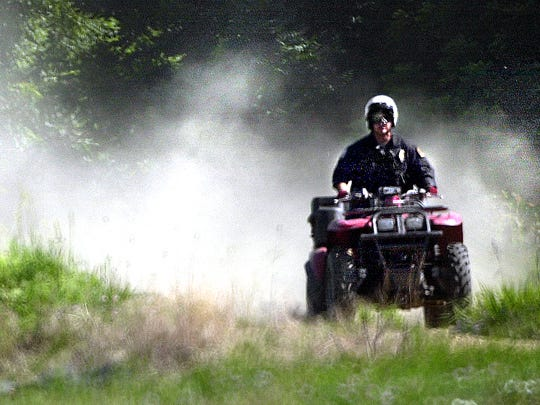 This was a patrol of a levee along the Codorus Creek, using an ATV. The three- and four-wheelers are used all over the country for professional reasons, often on farms.