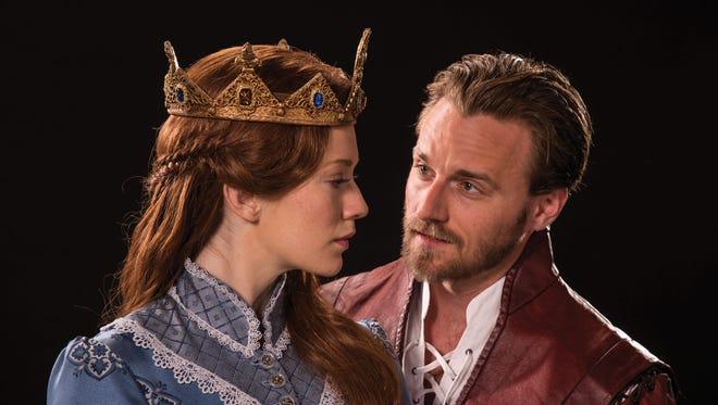 "Leslie Lank plays Princess Katherine and Sam Ashdown plays King Henry V in the Utah Shakespeare Festival's 2016 production of ""Henry V."""