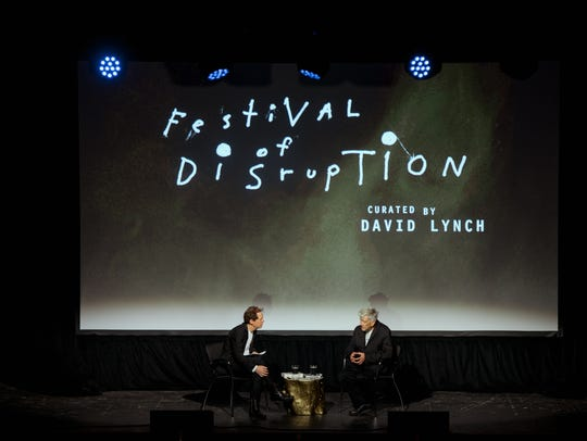 Paul Holdengraber, left, and David Lynch at the Festival