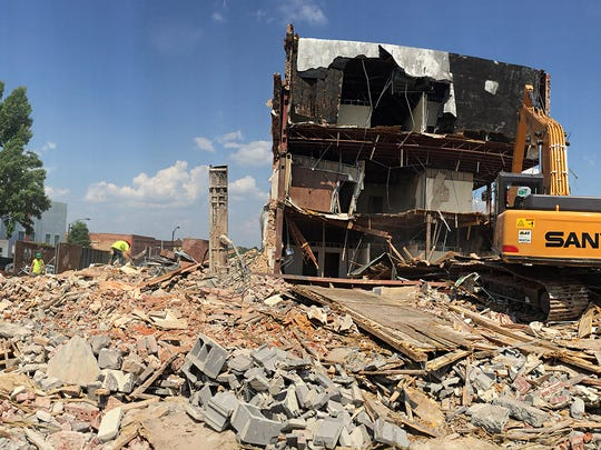 This 2016 file photo shows demolition of the Bailes Building in downtown Anderson.