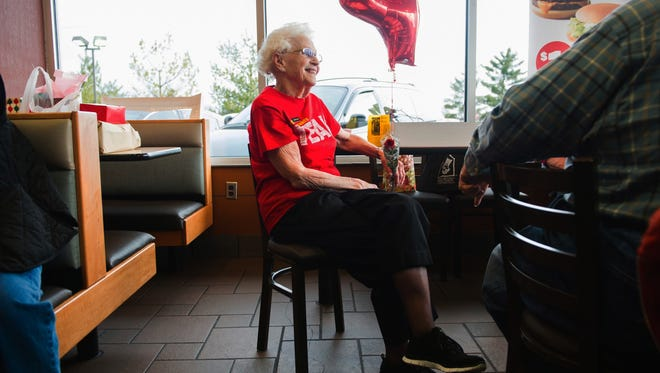 Loraine Maurerchats visits with customers at the N. Green River McDonald's location in Evansville, Ind., where a celebration was held in recognition of her more than four decades of work at local McDonald's restaurants. More Americans age 65 and over are still punching the clock, and the last time the percentage was this high was when John F. Kennedy was in the White House. In April 2017, 19 percent of Americans age 65 and over were still working, according to government data released Friday, May 5, 2017. That's the highest rate since 1962, and it caps a long trend higher since the figure bottomed out at 10 percent in 1985.