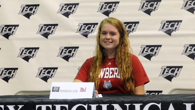 Sussex Tech's Mariah Lee signs her national letter of intent to play field hockey at Newberry College.