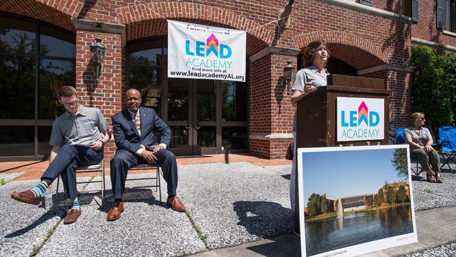 LEAD Academy chairperson Charlotte Meadows announces the location of LEAD Academy's campus on East Blvd. in Montgomery, Ala. on Thursday April 12, 2018.