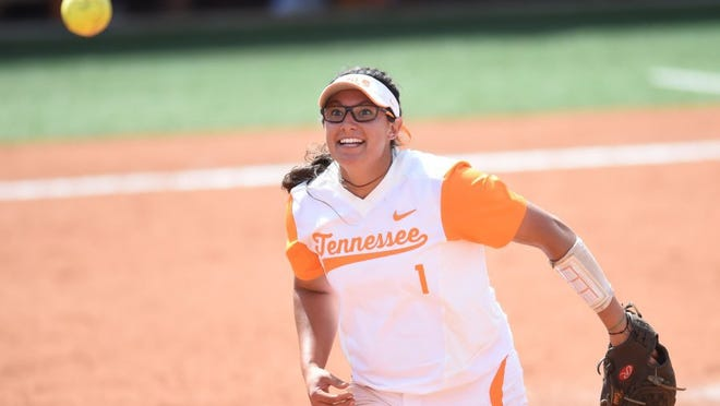 Tennessee's Matty Moss (1) tosses an Arizona runner out at first base during an NCAA softball tournament Knoxville Regional game at Sherri Parker Lee Stadium on Saturday, May 21, 2016. Arizona won 4-0. (ADAM LAU/NEWS SENTINEL)