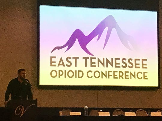 Former UT Vols quarterback Erik Ainge openly discusses his addiction issues March 23 at the East Tennessee Opioid Conference hosted by Metro Drug Coalition and Cigna at the Venue in Lenoir City.