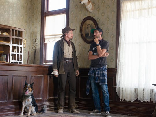 Ethan Hawke (left) and Ti West, along with Jumpy, on