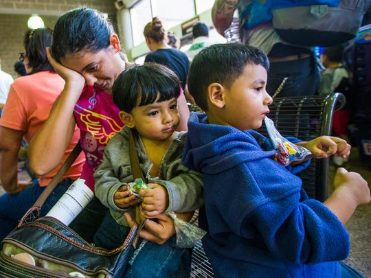 Migrant family who crossed the Mexico border.