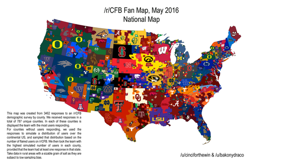 A map compiled of responses found MTSU as the top college