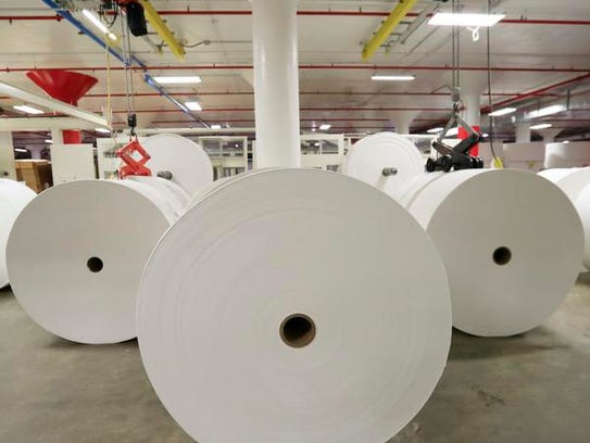Rolls of paper are shown at a Georgia-Pacific paper