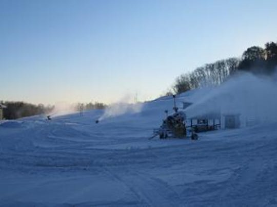The snow guns at Bruce Mound Winter Sports Area at work.