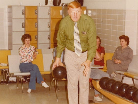 Howard Chapman bowls on the lanes at First Baptist