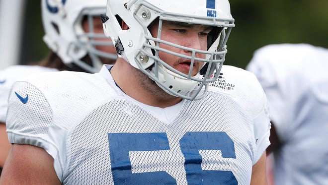 Indianapolis Colts offensive guard Quenton Nelson (56) during their joint practice at Grand Park in Westfield on Friday Aug 17.