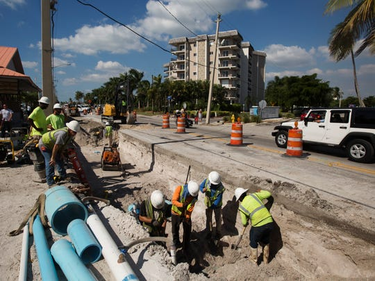 Construction continues on along Estero Boulevard on