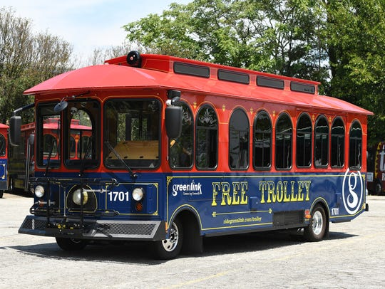 Free trolley service operates in downtown Greenville.