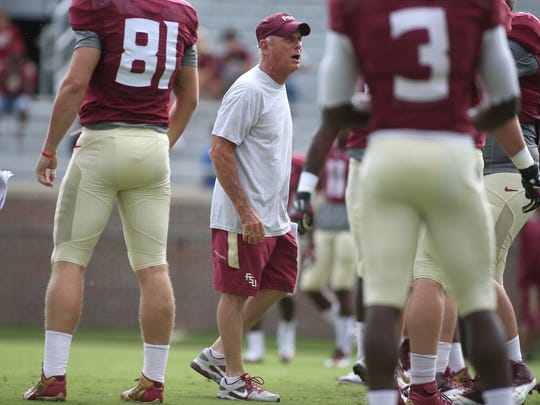 FSU Offensive Line Coach Rick Trickett works his players