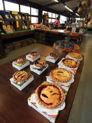 Homemade fruit pies for sale at Wright's Farm on Route