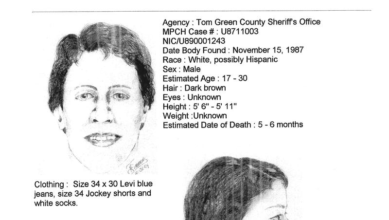 Tom Green Co  Sheriff's Office releases photos of 'John Doe' found