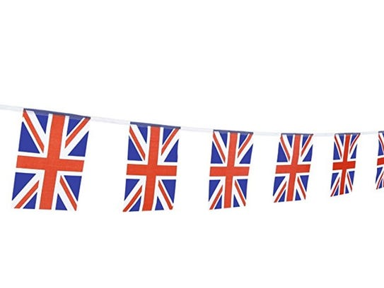 This string of Union Jack flags are on Amazon for $11.99.