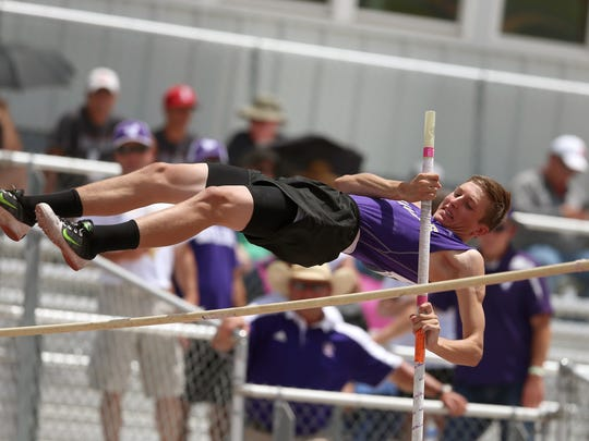 Sterling City's Quinton McMullan clears the bar during
