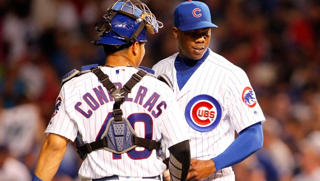 Aroldis Chapman, right, gives the Chicago Cubs a dominant closer and NL-only fantasy owners a huge upgrade.