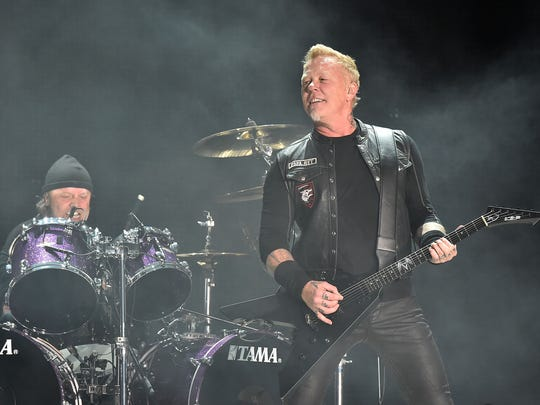 Lars Ulrich and James Hetfield of Metallica at MetLife Stadium in  East Rutherford on May 14, 2017.