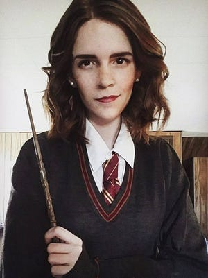 Kari Lewis dressed as Hermione Granger, actor Emma Watson's character in Harry Potter.