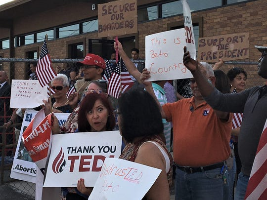 "A group chants, ""Thank you, Ted,"" in support of Texas Republican U.S. Sen. Ted Cruz on Thursday outside a town hall meeting with Border Patrol agents."