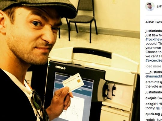 Justin Timberlake's Ballot Selfie, shared on Instagram.