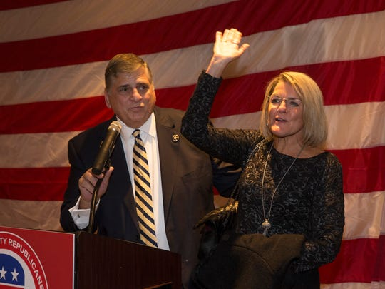 Ocean County Sheriff Michael Mastronardy introduces his wife Diane Mastronardy as he addresses crowd after  winning a second term as Ocean County Sheriff.