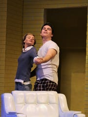 "Ned (Kevin Roberts) and his fantasized ex-girlfriend Ellie (Katrina Pearson) in rehearsal scenes from McMurry's ""All This and Moonlight,"" which continues its one-weekend run at 7:30 p.m. Friday and Saturday at Ryan Little Theatre."