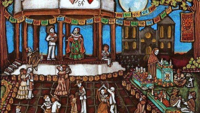 Pamela Enriquez-Courts depicts lively skeletons in this work celebrating Día de los Muertos on the Mesilla Plaza.