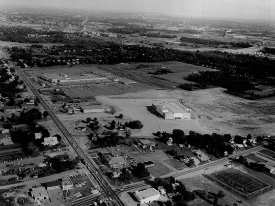 Before the malls were connected: McCurdy's Shopping Center, at right, and Sibley's, at left in background.