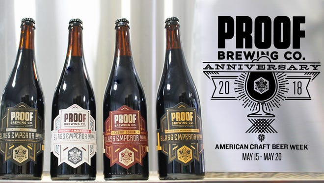 On Saturday, May 19th, Proof Brewing Company will celebrate its anniversary in Tallahassee by releasing four limited edition bombers from its Glass Emperor Imperial Stout series, including (from left):  Coffee Hazelnut Vanilla, Coconut Macadamia, Cherry Cordial and the original Glass Emperor. All four brews clock in at 12.4% ABV.