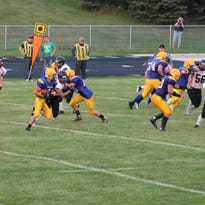 Baltic Bulldogs players out on the field against the Howard Tigers on Friday evening. The Bulldogs won the game 42-0.