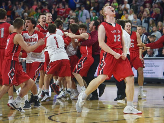 Yankton's  Matthew Mors lets out a yell after their