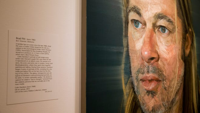 """A painting of Brad Pitt by Colin Davidson is among the work on display in """"Eye Pop: The Celebrity Gaze,"""" at the National Portrait Gallery, Monday May 18, 2015, in Washington."""