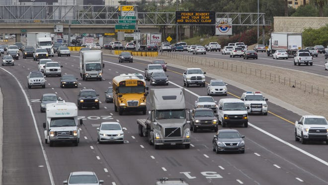 Congested stretches of I-10 freeway in the downtown Phoenix.