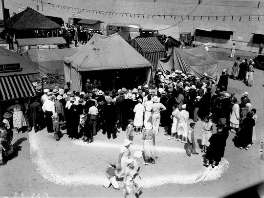The 1933 WHBL booth at the Sheboygan County Fair, where