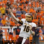 Central Michigan's Cooper Rush throws a pass in the second quarter of an NCAA college football game against Syracuse in Syracuse, N.Y., Saturday, Sept. 19, 2015.