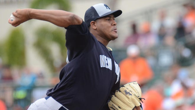 New York Yankees pitcher Ivan Nova works in the first inning of a spring-training game against the Baltimore Orioles on Friday at Ed Smith Stadium in Sarasota, Florida.