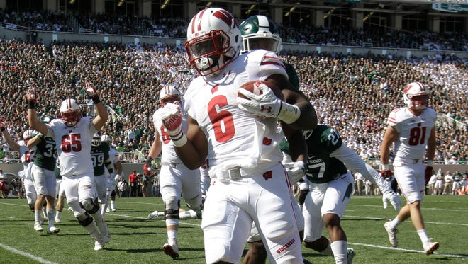 Badgers tailback Corey Clement scores his second touchdown of the game Saturday against Michigan State. Clement rushed for 54 yards on 23 carries against the Spartans.