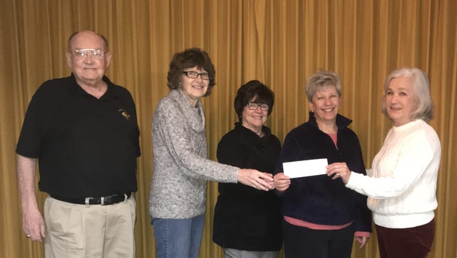 The Mountain Home Elks Lodge No. 1714 recently donated $1,000 to the local Backpack Food 4 Kids program. The program provides Mountain Home school children with weekend meals to help alleviate hunger. Participating in the donation were: (from left) Stu Friend, Elks president; Kathy Bauer, Linda DeMass andJo Strickland, co-directors of the Backpack program; and Sherie Brown, Elks grant coordinator.