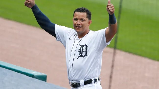 Miguel Cabrera reacts to hitting his 2,000th hit as a Tiger.