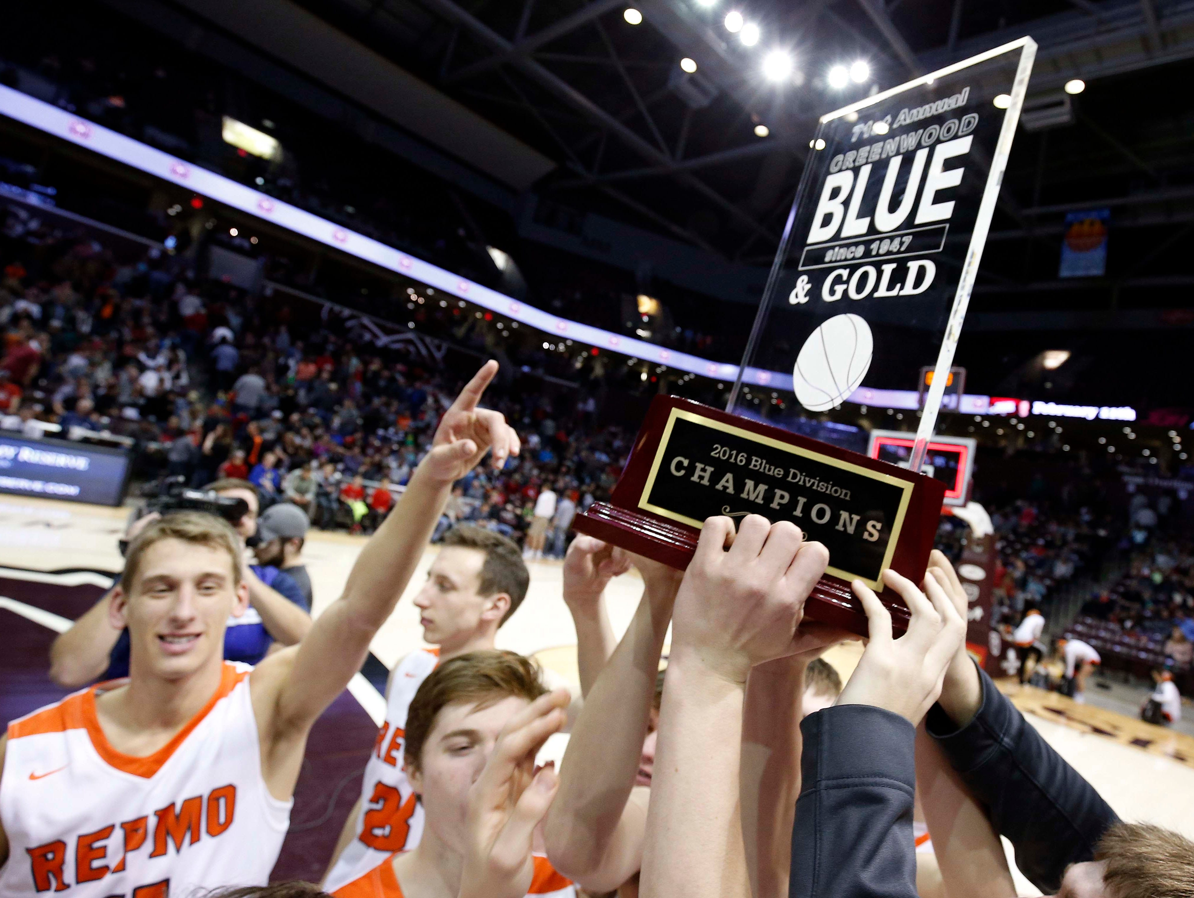 Republic hoist the trophy after beating Glendale in the Blue division final at JQH Arena on December 29, 2016.
