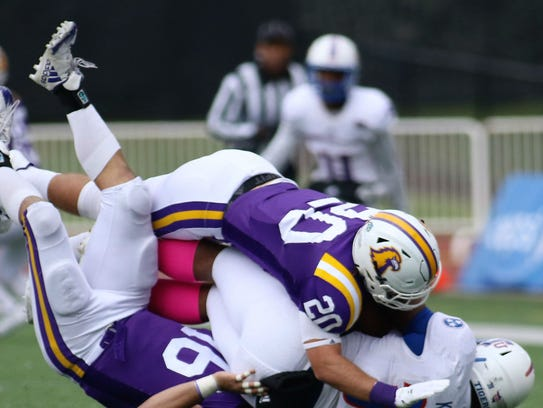 Tennessee Tech safety Clay Davis (20), who had two